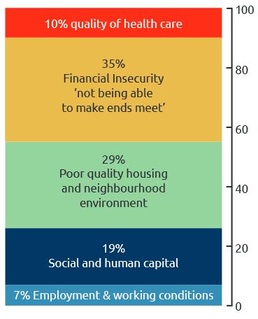 Veselības nevienlīdzības cēloņi: 7% nodarbinātības un darba apstākļu; 10% veselības aprūpes kvalitāte; 19% sociālais un cilvēkkapitāls; 29% Sliktas kvalitātes mājokļi un apkārtne; 35% Finaical nedrošība